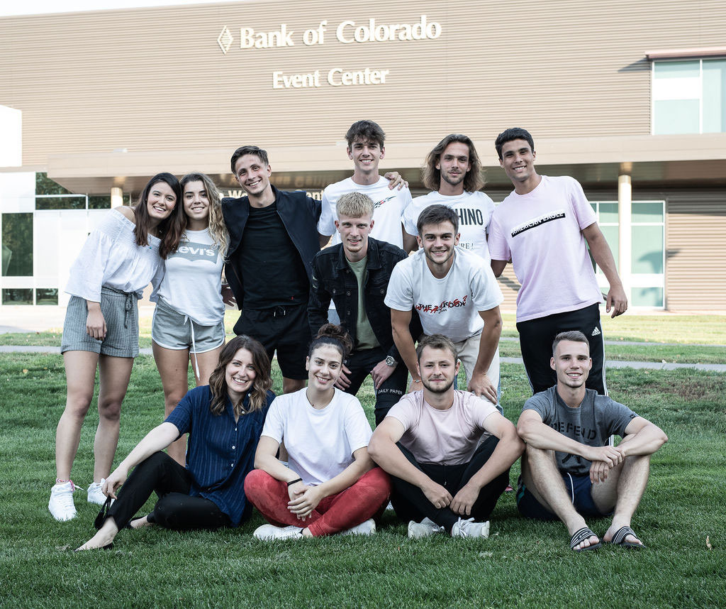 International students in front of the Bank of Colorado Event Center at Northeastern Jr College