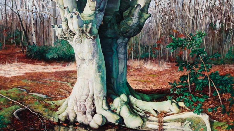 Oil painting of a tree, titled Sanctuary by Ricki Klages