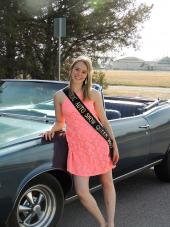 Rachel Fergus of Brush is the 2017 NJC Auto Show queen. She is shown here with a 1966 Pontiac Lemans with a 455 cubic inch V8 owned by NJC's Diesel Instructor Jimmy Atencio of Sterling.