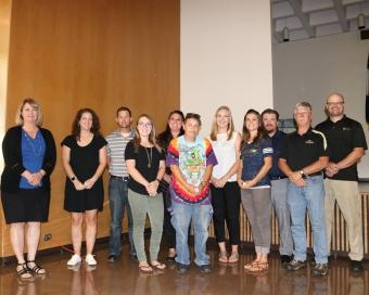 Five-year award recipients, left to right, Lisa Schaefer, Catheryne Trenkle, Tom Myers, Kelli Herzog, Martha Conner, Melinda McKay, Sadie Fritzler, Kelly Kuntz, Dante Penington, Ben Murray, Clint Rothell