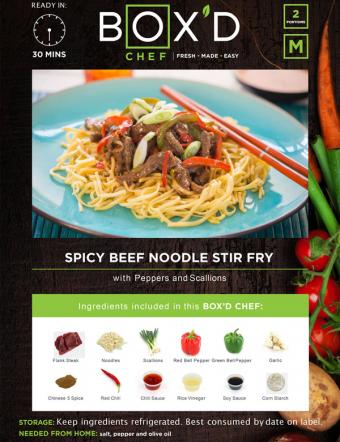 Ready in 30 minutes, Box'd Chef Fresh made easy, 2 portions, meat, Spicy beef noodle stir fry with peppers and scallions. images of ingredients also including flank Steak, noodles, red bell pepper, green bell pepper, garlic, chinses 5 spice, red chili, Chili Sauce, red vinegar, soy sauce and corn starch. storage: keep refrigerated, best consumed by date on label. Needed from home Salt pepper and olive oil.