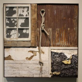 Storied, 2018, wood, tin, newsprint, cardboard, canvas, insulation, found objects, graphite, acrylic, 48x48 inches, W. Lemen Bredehoft