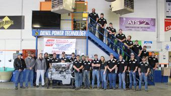 On the left: Jimmy Atencio, Garrett Sporhase and Arlan Scholl are pictured with the 2016-2017 NJC Diesel Technology Students.